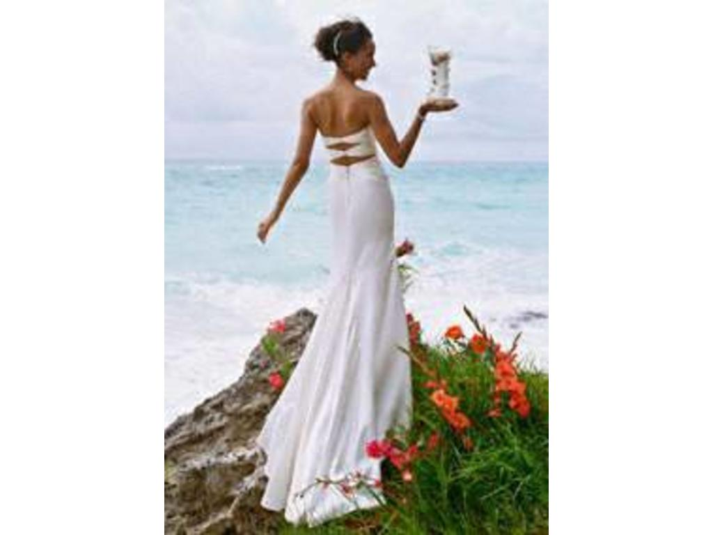 Used David's Bridal Slim Charmeuse Gown With Beaded