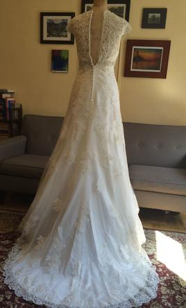 Davids Bridal Cap Sleeve Lace Over Satin Gown With Illusion Back