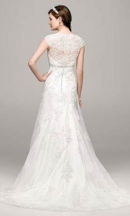 Davids Bridal Cap Sleeve Lace Over Satin Gown Wit