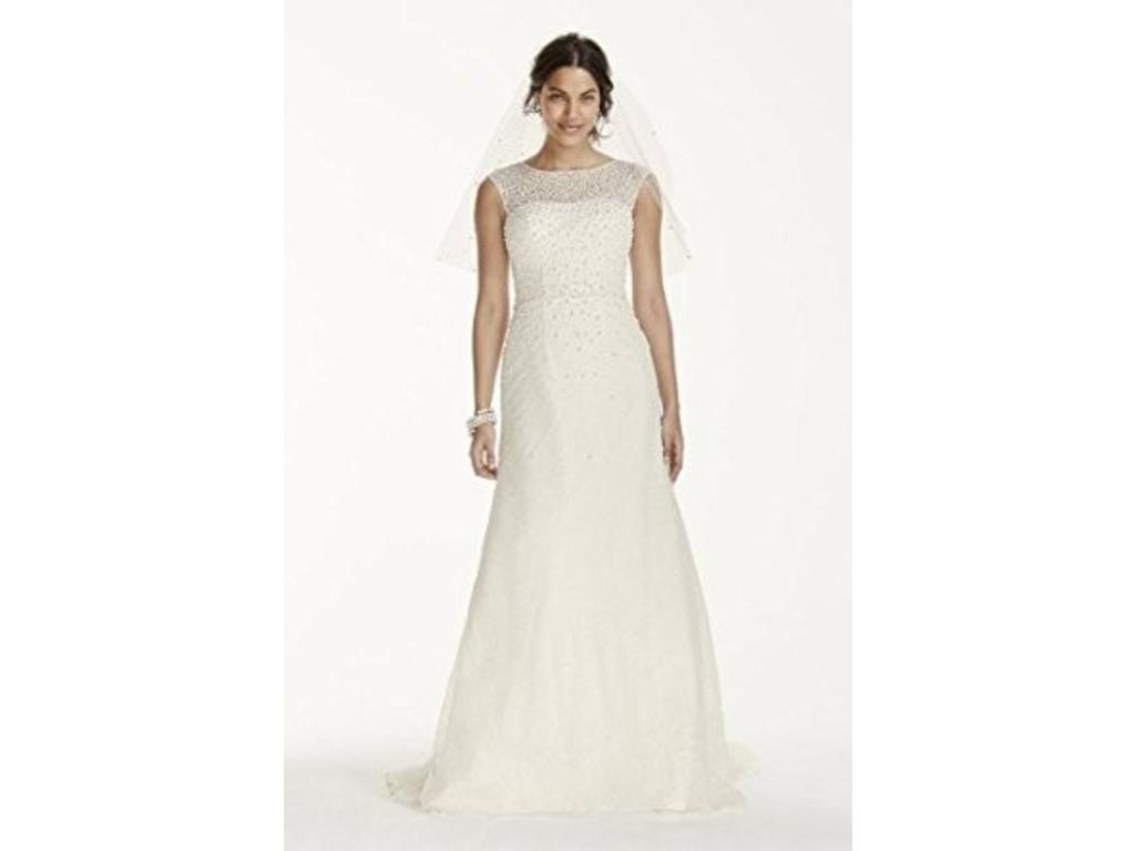 David S Bridal V3763 Jewel Cap Sleeve Wedding Dress With Pearl De