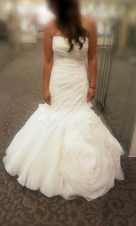 White By Vera Wang Bias Tier Trumpet Wedding Dress