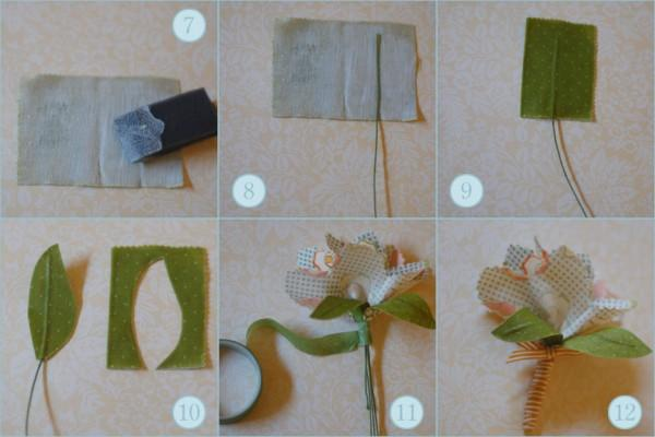 diy fabric flower wedding boutonnieres