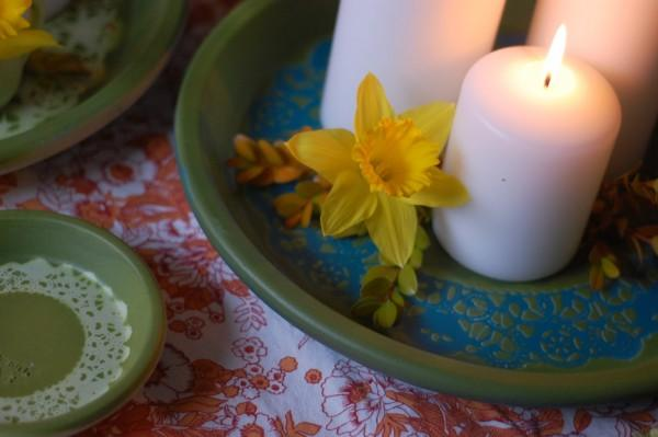 diy wedding saucer centerpieces