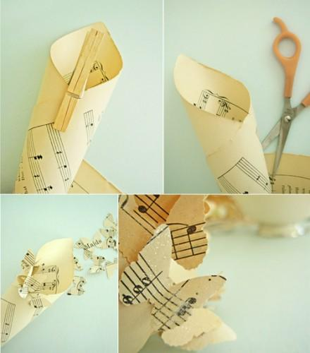 paper wedding cones: butterflies cut
