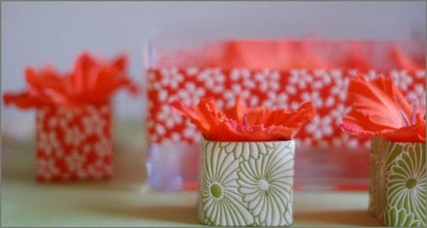 DIY Flowers in Wrapped Vases
