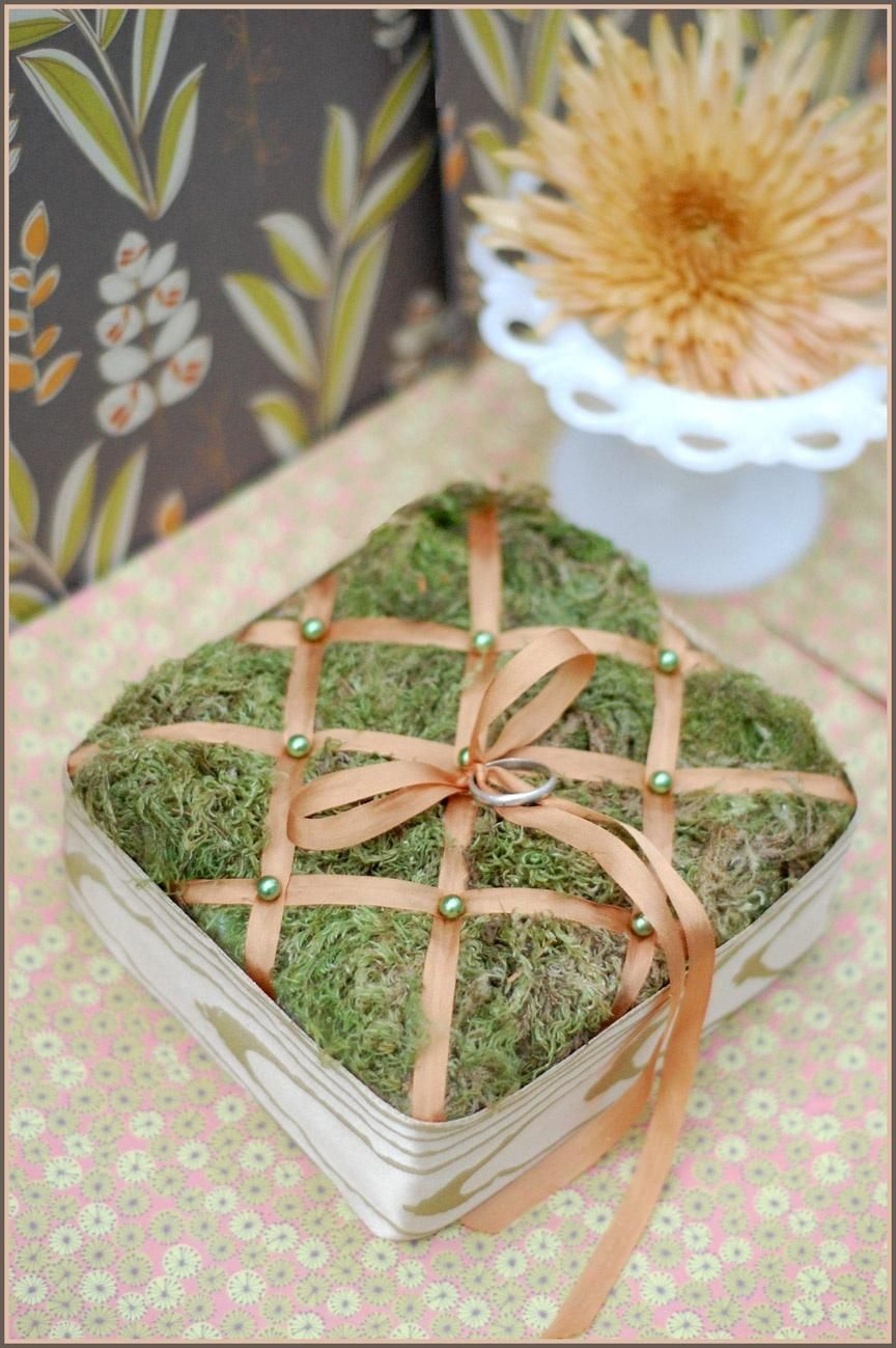DIY Tufted Moss Ring Pillow Once Wed