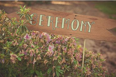 wooden ceremony signs