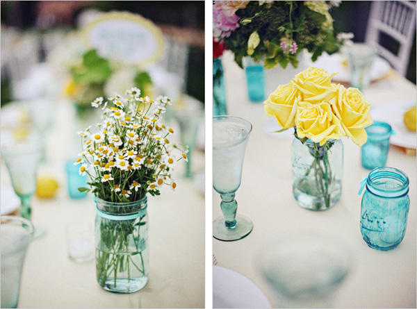 blue-mason-jar-wedding-centerpieces - Once Wed