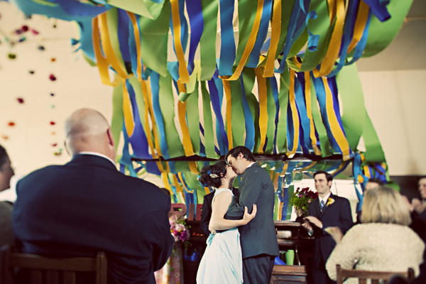 yellow green blue streamer wedding
