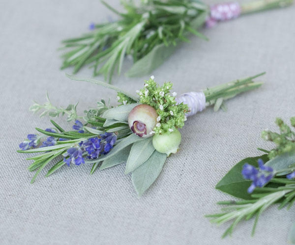 Unique and beautiful herb boutonnieres.