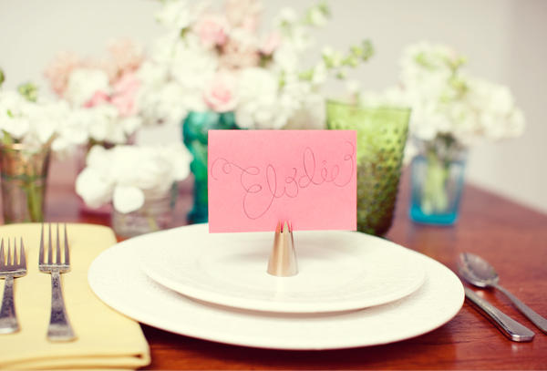 Diy wedding centerpieces once wed Unique place card ideas