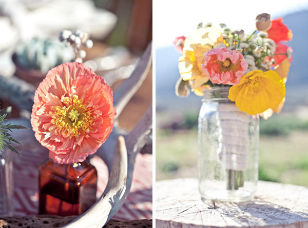 poppy wedding centerpieces
