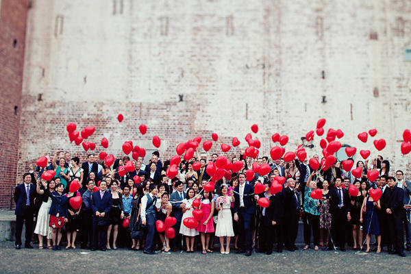 red heart wedding balloons