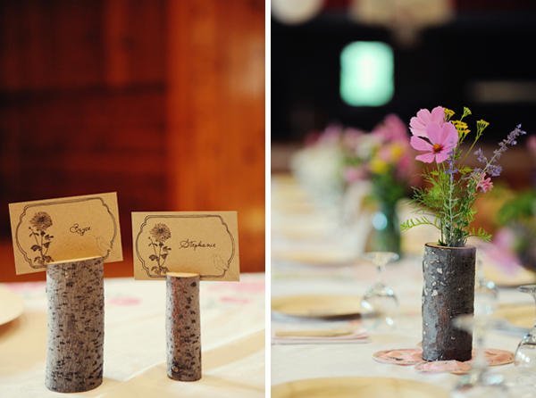 log wedding escort cards