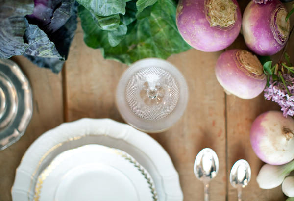 vegetable wedding centerpiece and reception table