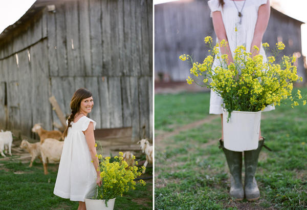 white cotton farm wedding dress