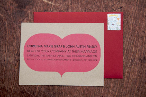 Heart Craft Paper Wedding Invitations