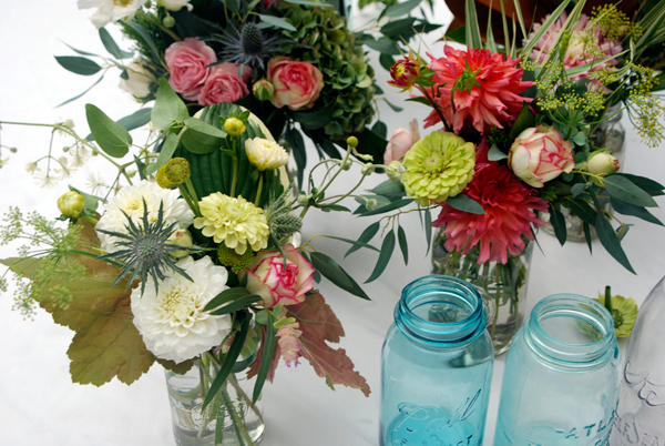 Blue Mason Jar Wedding