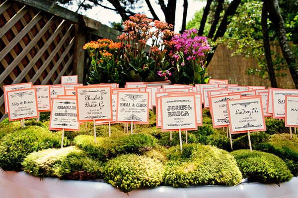 Moss Wedding Escort Card Table