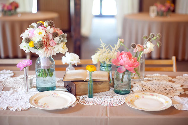Vintage Centerpieces For Wedding Tables : A pink vintage wedding once wed