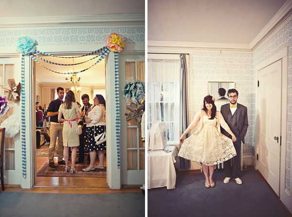 A diy wedding at home ii once wed for Wedding home decoration ideas
