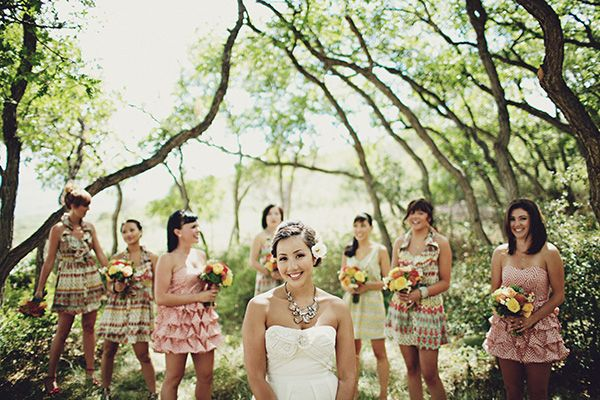 pattern-bridesmaid-dresses - Once Wed