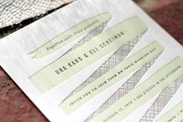 Modern Ribbon Letterpress WeddingInvitation2