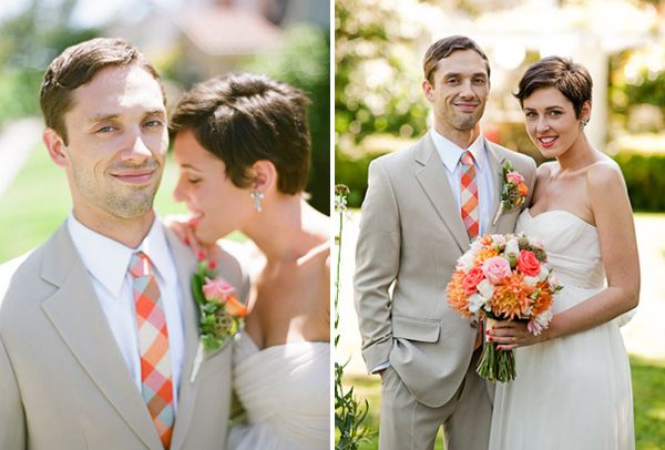 Orange Plaid Wedding Tie