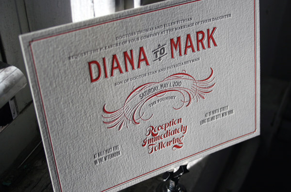 Red Gray Retro Vintage Letterpress Wedding Invitations