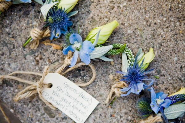 Blue Boutonniere Ideas