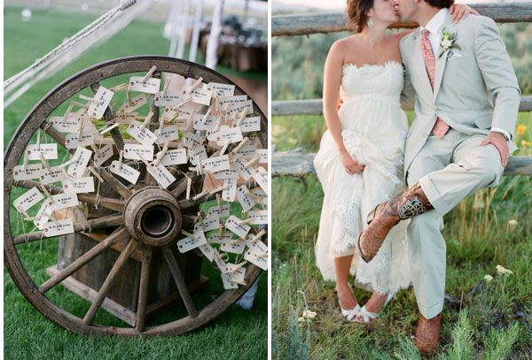 wedding-cowboy-boots-wedding-wagon-wheel - Once Wed