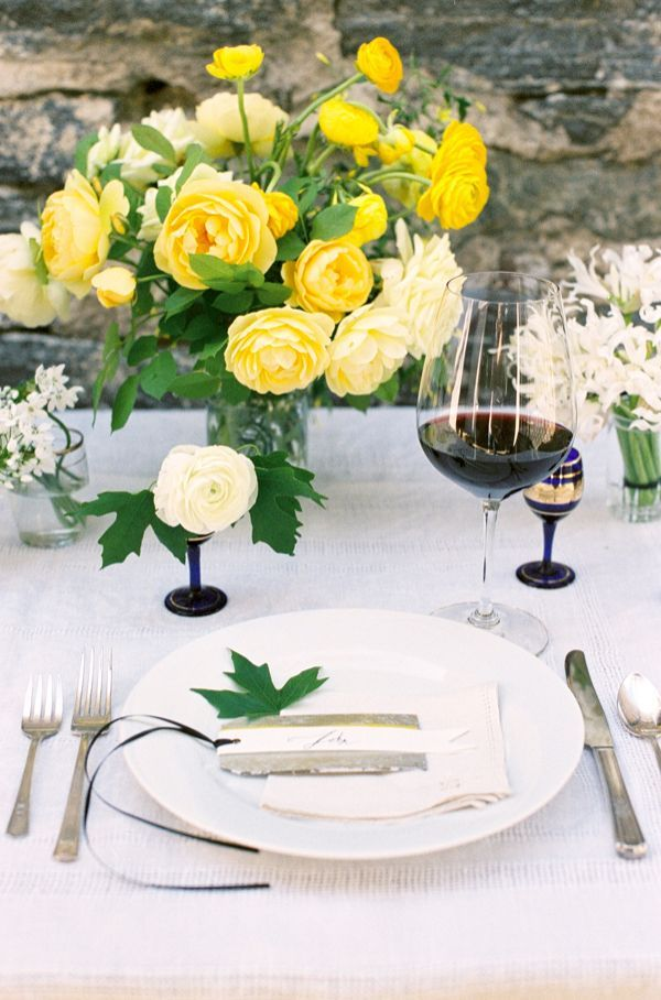 Yellow and Blue Wedding Table