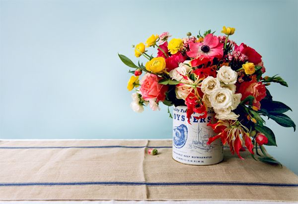 Blue country floral centerpiece once wed