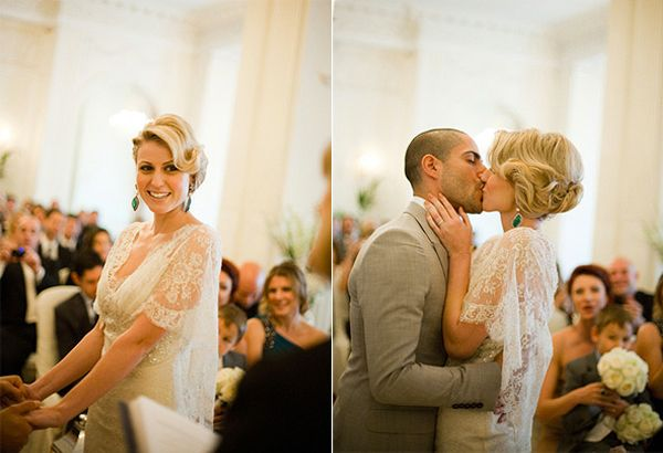 Bride And Groom Ceremony Kiss Once Wed