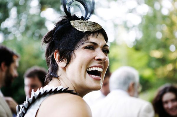 Bridesmaid Headpiece Feather Black