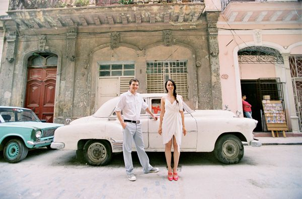 Cuba Couple White Car Street