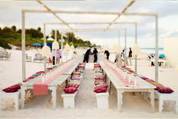 Reception Decor Pillows Colorful Beach