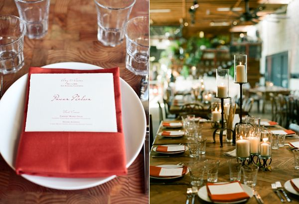 Red Napkin Reception Place Setting