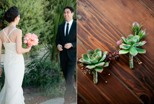 Succulent Boutonniere Bride Groom Meet