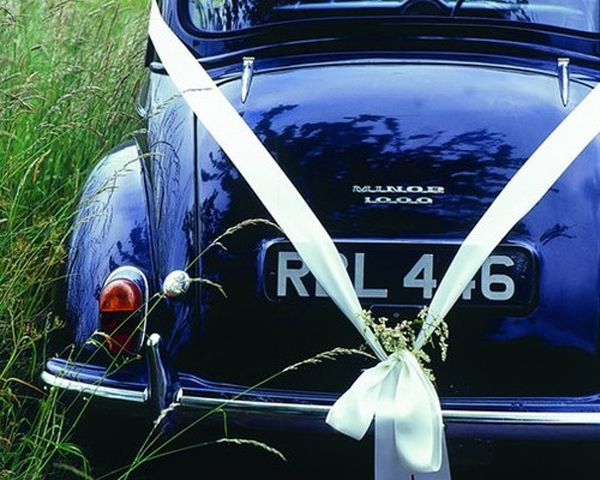 Wedding Ribbon On Car