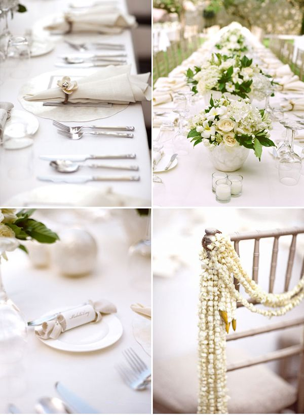 White Grey Tropical Wedding Reception