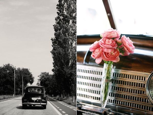 Black Vintage Car Flowers