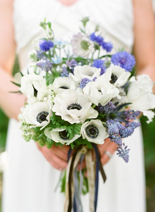 Blue White Spring Bridal Bouquet Once Wed