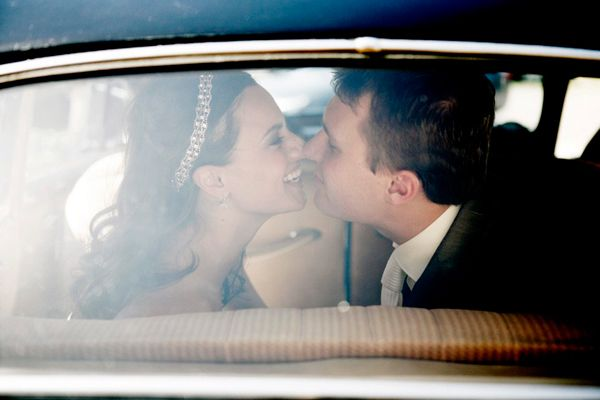 Classic Car Window Bride Groom