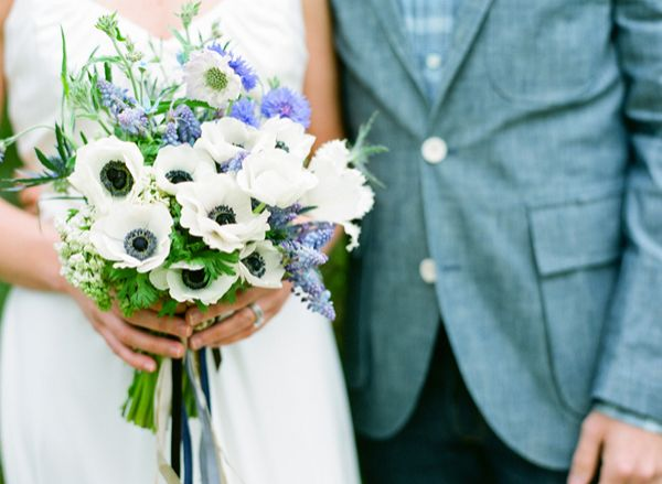 Denim Bride And Groom Blue White Bouquet