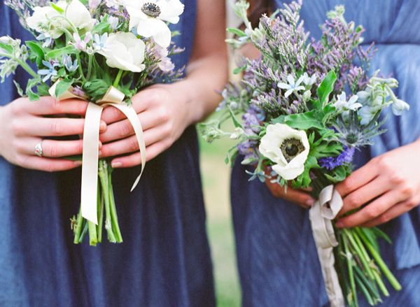Denim Bridesmaids Blue White Bouquets