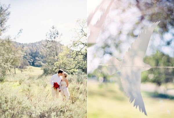 Flying Paper Bird On String Bride Groom