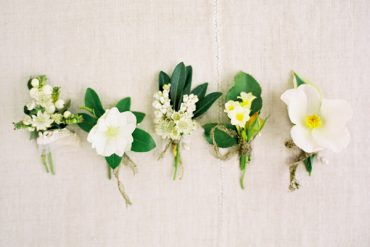 Garden Green And White Boutonnieres