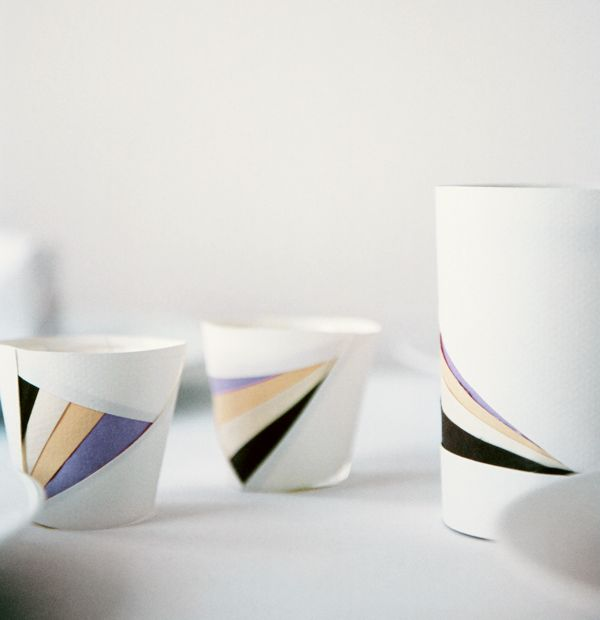 DIY Geometric Paper Wrapped Votives