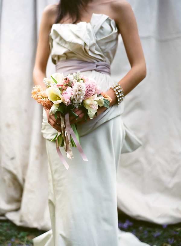 Grey Vera Wang With Bouquet